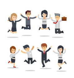 Happy business people jumping team workgroup of vector