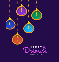 Happy diwali card hindu holiday diya candles vector
