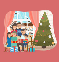 happy family with a christmas tree and presents vector image