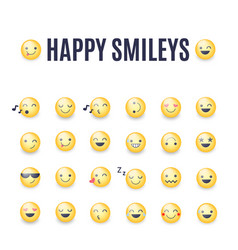 happy smileys icon set emoticons pictograms vector image
