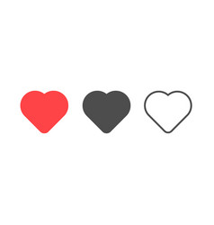 heart icon in different styles vector image