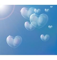 Hearts soap bubbles vector