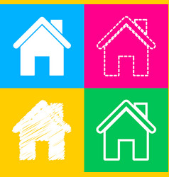 home silhouette four styles of icon vector image
