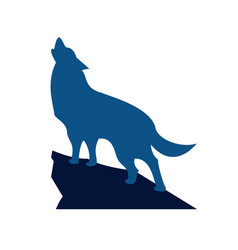 howling wolf logo design vector image