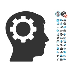 Intellect Gear Icon With Free Bonus vector