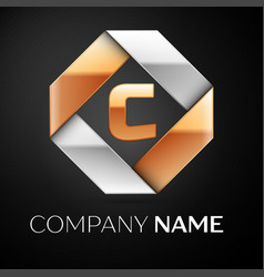 Letter c logo symbol in the colorful rhombus on vector