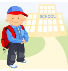 little boy goes to school vector image