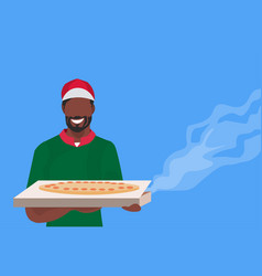 male cook chef holding box with hot traditional vector image