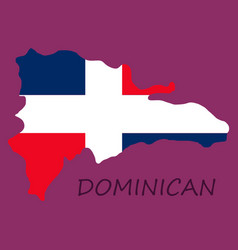 Map dominican republic with flag north vector