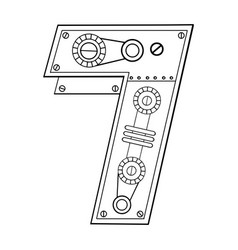 Mechanical number 7 engraving vector