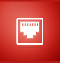 Network port - cable socket icon on red background vector