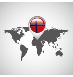 norway flag pin map design icon vector image