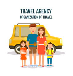 Organization of travel square banner happy family vector