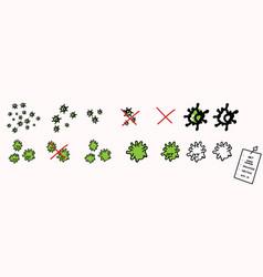 Picture set corona virus icon image fight vector