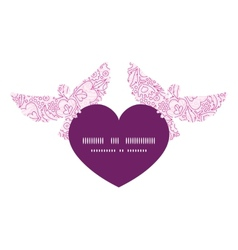 Pink flowers lineart birds holding heart vector