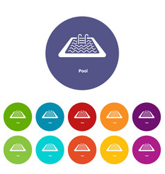 pool icons set color vector image