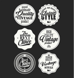 premium quality retro badges collection white and vector image