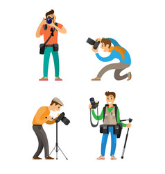 professional journalists equipment taking photos vector image