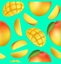 Realistic detailed 3d whole mango and sliced vector