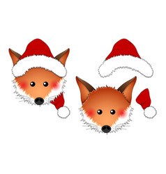 red fox santa claus isolated on white background vector image