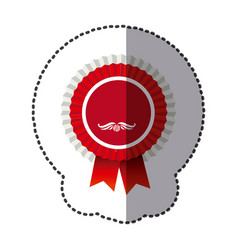 Red round emblem with ribbon icon vector