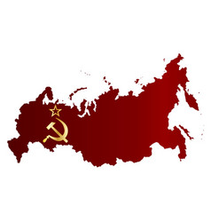 russian red flag silhouette map vector image