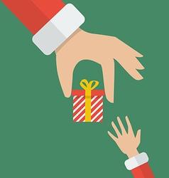 Santa hand giving a gift box to kid vector image