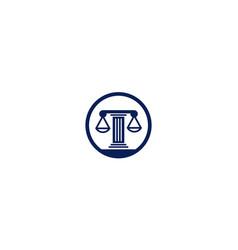 Scales justice law pole in circle logo design vector