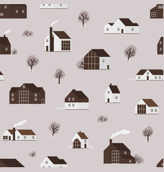 seamless pattern with wooden living houses or vector image