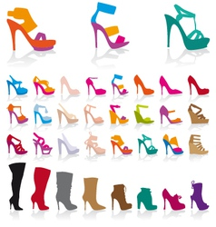 Set detailed colorful shoes vector