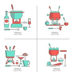 Set of fondue party vector