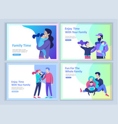 Set of landing page templates happy family travel vector
