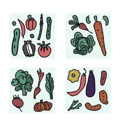 Set of vegetables doodle composition vector