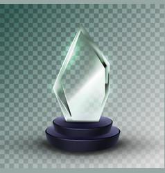shiny acrylic material sport trophy award vector image