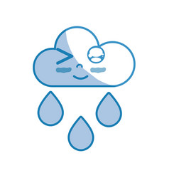 Silhouette kawaii nice funny cloud raining vector