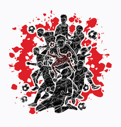 Soccer team composition soccer player vector