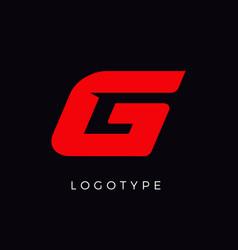 Speed letter g red race monogram logo italic vector
