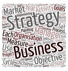 Strategy Cycle text background wordcloud concept vector image