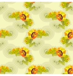 Sunflowers yellow seamless background with green vector image