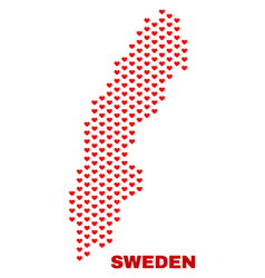sweden map - mosaic of love hearts vector image