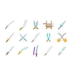 Sword icon set cartoon style vector