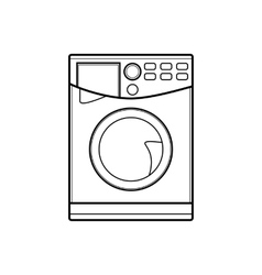 symbol of washing machine line art vector image