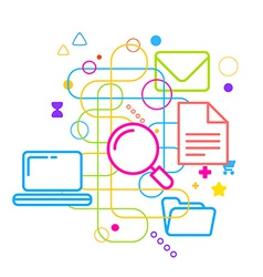 Symbols of internet searching on abstract colorful vector image