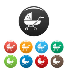 toy baby pram icons set color vector image