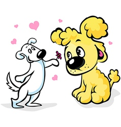 two dogs in love cartoon vector image