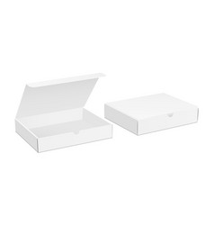 Two paper boxes mockup with opened and closed lid vector