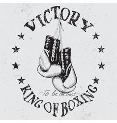 Vintage sports label with boxing gloves vector