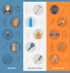 welder banner with flat icons set vector image