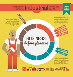 Worker of factory infographics elements vector