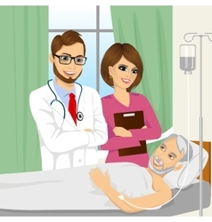 young doctor and nurse visiting a senior old man vector image